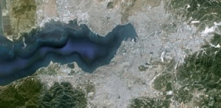 Satellite view of Izmir, Turkey
